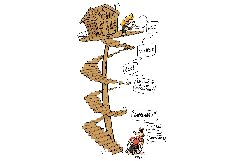 accessibilité et handicap dans la construction de logement, habitat adapté, dans La Maison écologioque n°109 - dessin Nicolas Haverland
